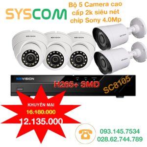 trọn bộ 5 camera kbvision siêu nét 2k